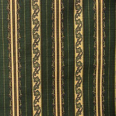 Vintage 1-7/8 yd Cotton Canvas Upholstery Fabric WOODRIDGE Hunter Olive Beige