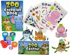 Details About Fun Land 12 Animal Coloring Books And Crayons 12 Jungle Zoo Stampers 12 Sea F