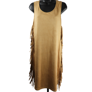 Christian-Siriano-Light-Brown-Faux-Suede-Sleeveless-Knee-Length-Dress-Women-039-s-L