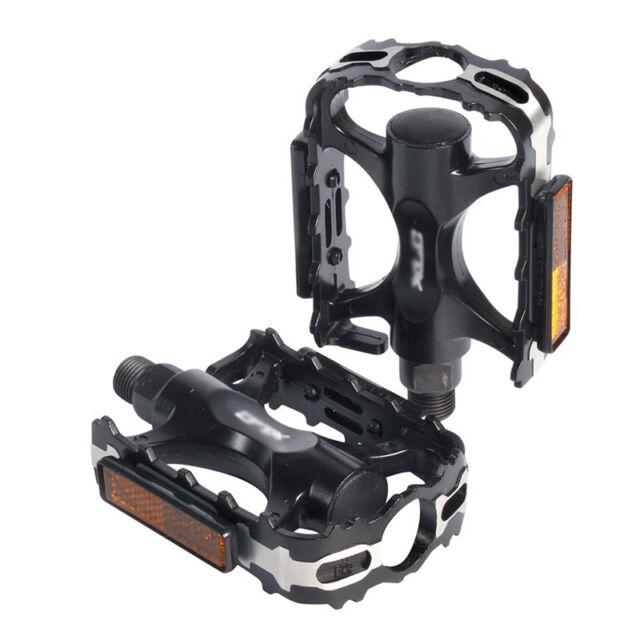 "Black New 1Pair Mountain Road BMX Bike 9/16"" Flat Pedals w/ Light Reflector TBCA"