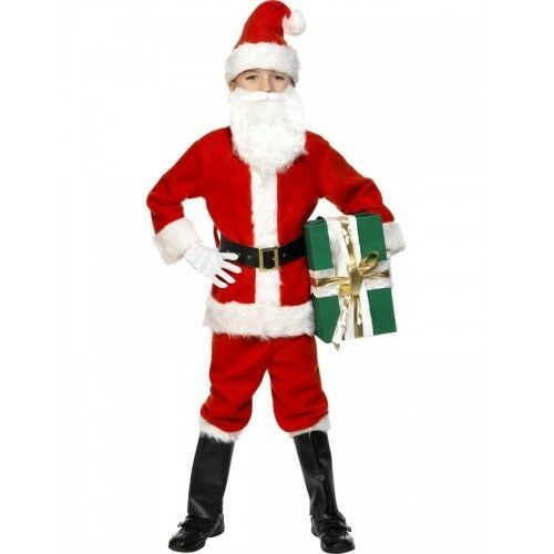 Beard Boys Deluxe Santa Claus Father Christmas Suit Fancy Dress Costume Outfit