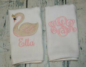 Monogrammed Disney Baby Girl Burp Cloth Set-Personalized Disney Baby Girl Burp Cloth Set