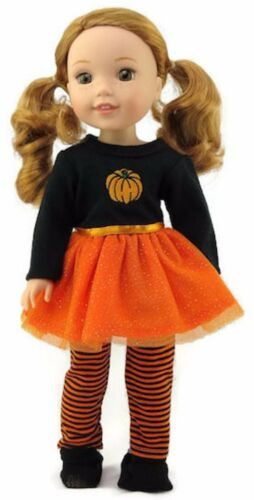 "Halloween Pumpkin Tutu Set fits 14.5/"" American Girl Wellie Wishers Doll Clothes"