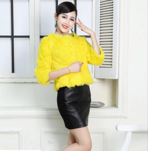100/% Real Genuine Rabbit Fur Short Coat Jacket Outwear Women Winter 11 Colors