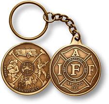 IAFF AFL-CIO Fire Mural antiqued bronze  key chain