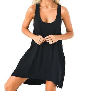 Summer-Sleeveless-Women-Lady-Racer-Back-Dress-U-neck-Solid-Irregular-Sun-Dresses