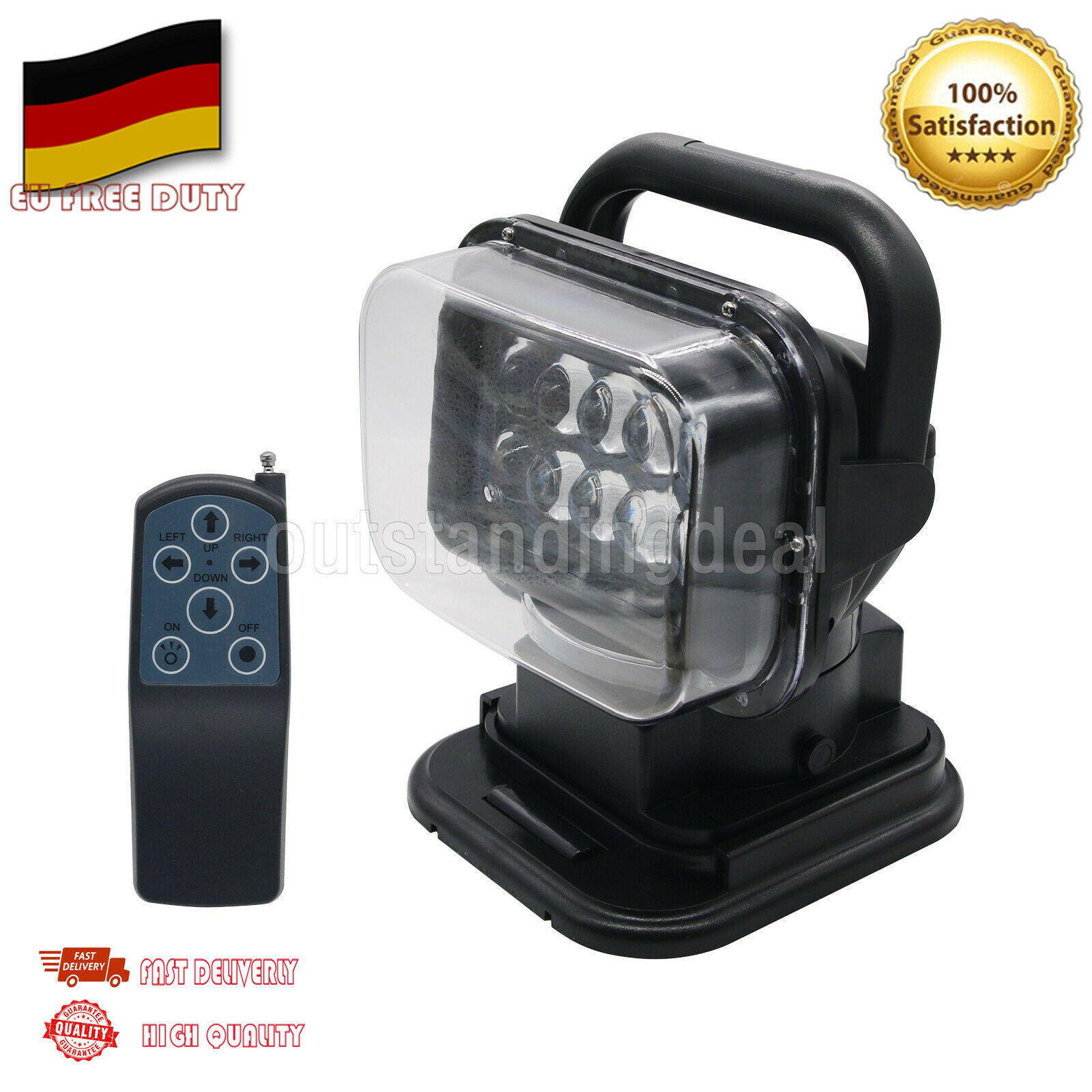 12V 50W LED Searchlight Boat Car 360° Magnetic Remote Control Spot Light DE