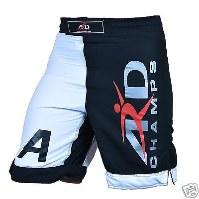 ARD CHAMPS™ Pro MMA Fight Shorts UFC Cage Fight Grappling Muay Thai Boxing B&W