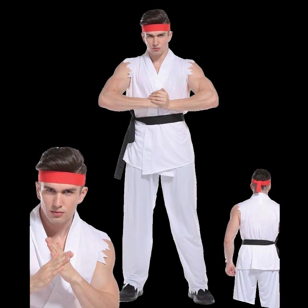 Deluxe Adult Mens Street Fighter Costume Cobra Karate Kid