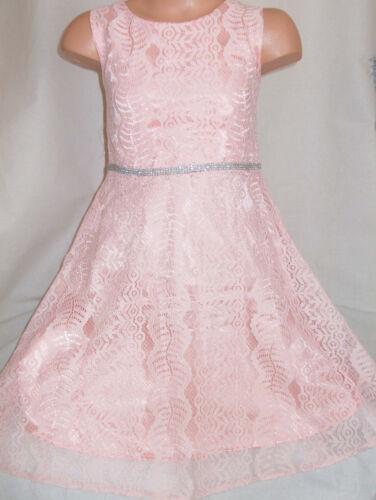 GIRLS 50s VINTAGE STYLE PASTEL PINK LACE DIAMONTE TRIM PRINCESS PARTY DRESS