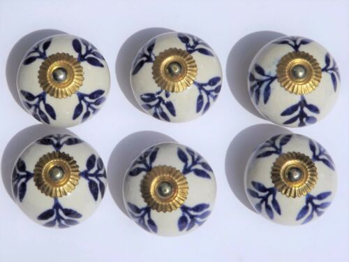 x 6 ceramic cupboard cabinet knobs White round with Blue foliage brass fittings