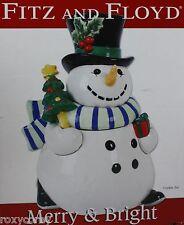 Christmas Fitz and Floyd Merry Bright Snowman Cookie Jar 12 in Tall NIB