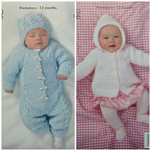 18a93c7ae75 Details about KNITTING PATTERN Baby All-in-one Suit Hat   Hooded Jacket  Aran King Cole 3504