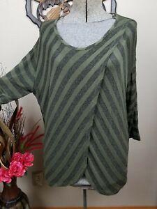 Clothing, Shoes & Accessories Sweaters Buy Cheap Cato Woman Open Weave Cardigan Green Beige Striped Long Casual Size 18 20 W