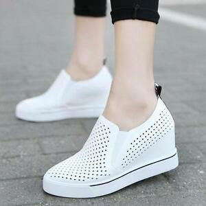 Womens Breathable Mesh  Slip On Sneakers Hidden Wedge Heel  Athletic Shoes Sport