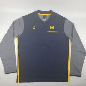 9839d9a9da0672 Jordan Michigan Wolverines Football Coaches Dri-Fit 1 2 Zip Pullover ...
