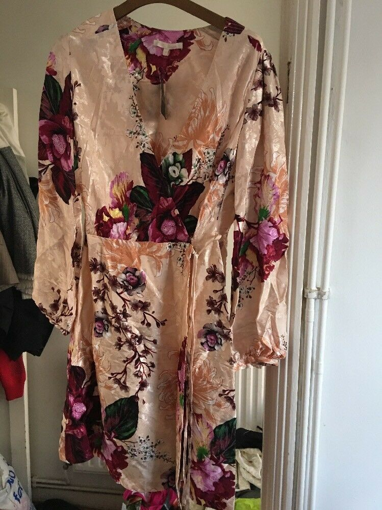 BNWT Size 12 Next Pink Satin Floral Credver Dress RRP  (9)