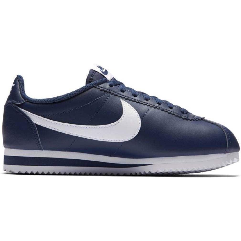 Femme Nike Classic Cortez Leather Bleu Baskets 807471 400