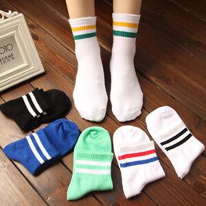 Women-039-s-Men-039-s-Sport-Ankle-Socks-Girls-Casual-Cotton-Socks-Cute-Striped-High-Sock