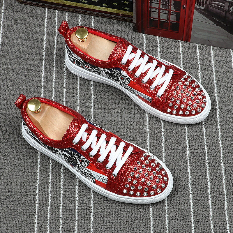 Mens PU Lace Up Hip Hop Rivets Sequins Floral Printing Leisure Street shoes Punk