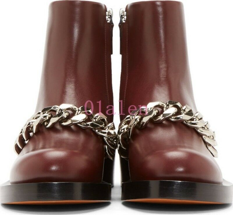 Womens Real Leather Metal Chain Riding Ankle Boots Punk Low Block Heel Fashion