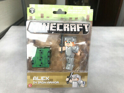 """Minecraft Overworld 3"""" Alex in Iron Armor Collection Figure Package Crushed"""