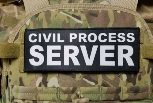 3x8 Civil Process Server Morale Plate Carrier Raid Tactical Patch Hook Backed