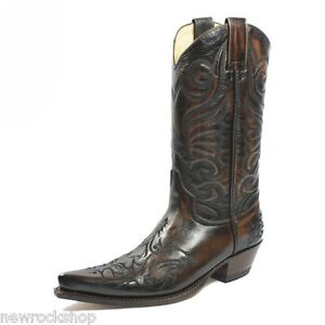 de4629f83bd Details about Sendra 6056 Cowboy Boots Brown Leather Western Biker Handmade  Ladies Men