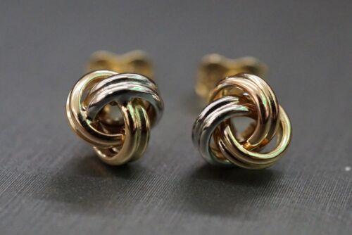 Belle 14K Solide Trinity Knot Tri Couleur Clous d/'oreilles!!! #0719127