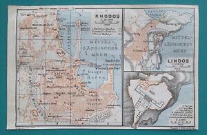 1934-MAP-4-x-6-034-10-x-15-cm-GREECE-City-Plan-Rhodos-amp-Lindos-Rhodes-Island