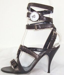 ALEXANDER-MCQUEEN-Black-Bronze-Leather-Wrap-Watch-Sandals-Shoes-37-5