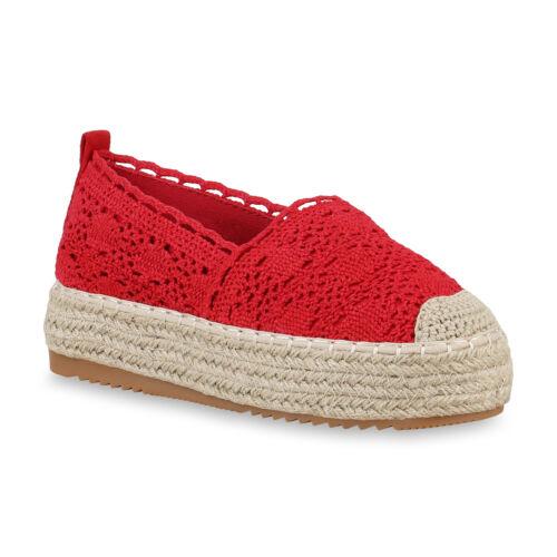 Damen Plateau Slipper Bast Espadrilles Spitzenstoff Slip On Schuhe 826180 Trendy