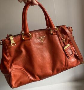 PRADA-Vitello-Shine-Mandarino-Orange-Tote-Shoulder-Sling-Bag-BN2324