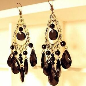 Image Is Loading Vintage Black Stone Water Drop Tel Earrings