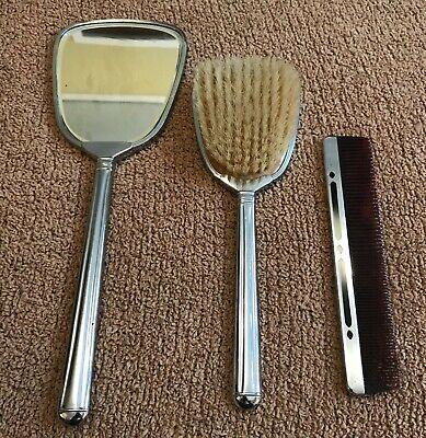 3 Piece Vintage Chrome Black Dressing, Dressing Table Brush Comb Mirror Set