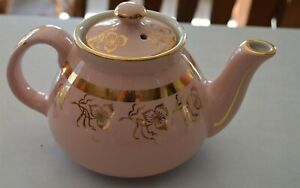 Darling-Vintage-PINK-with-Gold-trim-Hall-USA-2-cup-teapot