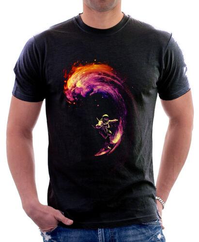 Spaceman Space Surfing NASA black printed t-shirt 9760