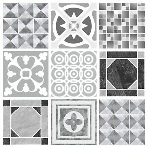 Grey Patterned Mosaic Tile Stickers Transfers for 145mm x 145mm 14.5cm G01