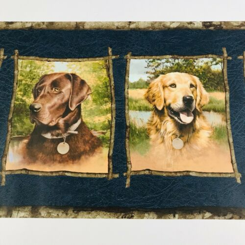 Seabrook Designs GQ157B Labrador Retriever Blue Wallpaper Border Dogs 5 Yards