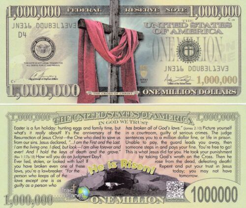 Easter Cross Million Dollar Fake Funny Money Gospel Tract with FREE SLEEVE