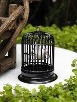 Miniature Dollhouse Fairy Garden Accessories Black Metal Bird Cage W Bird