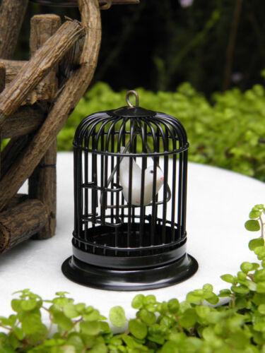 Miniature Dollhouse FAIRY GARDEN Accessories ~ Black Metal Bird Cage w Bird NEW