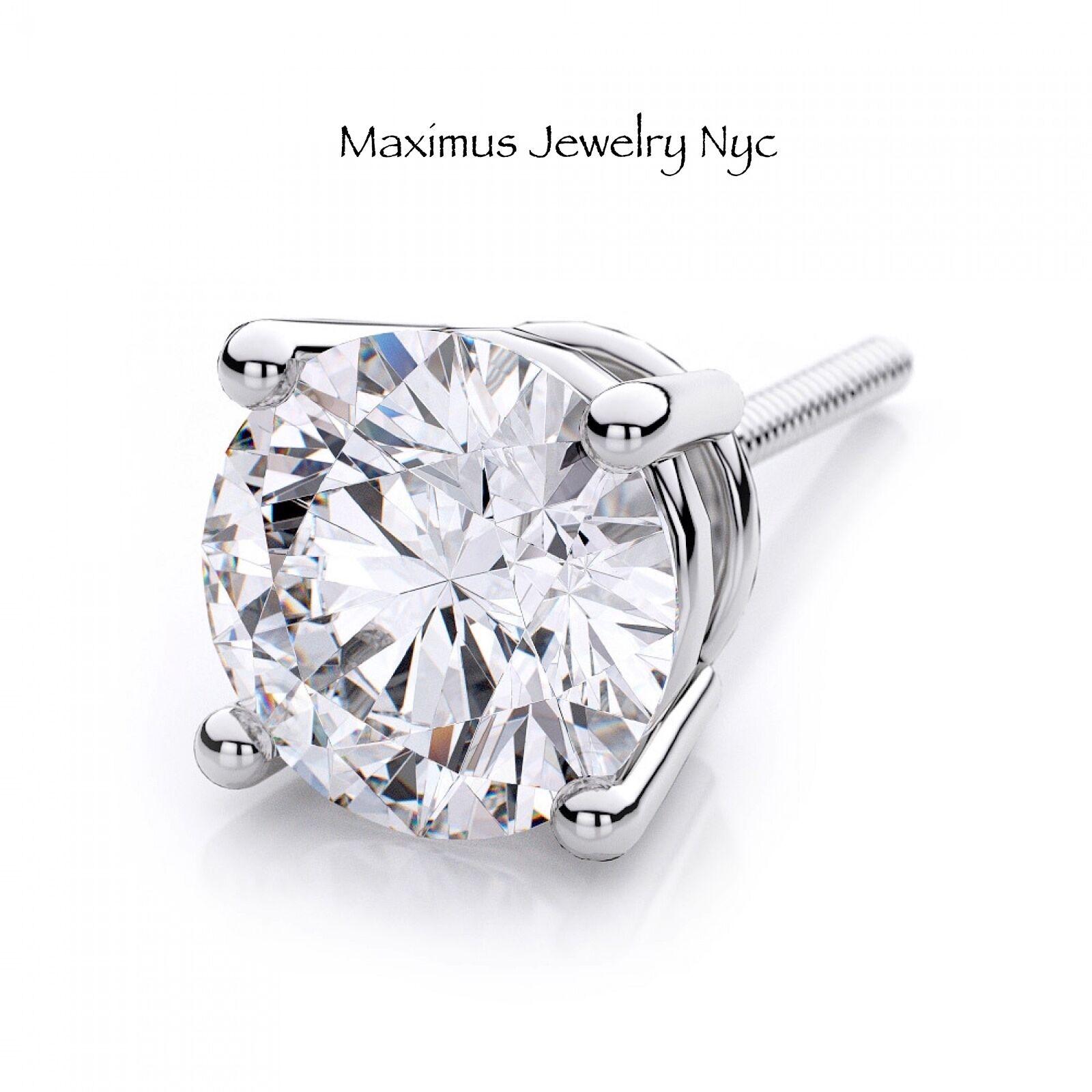 Single Diamond Brilliant Men's Stud Earrings 100% Natural 14K White gold 0.50CT