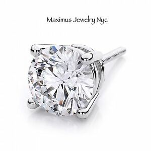 Image Is Loading Single Diamond Brilliant Men 039 S Stud Earrings