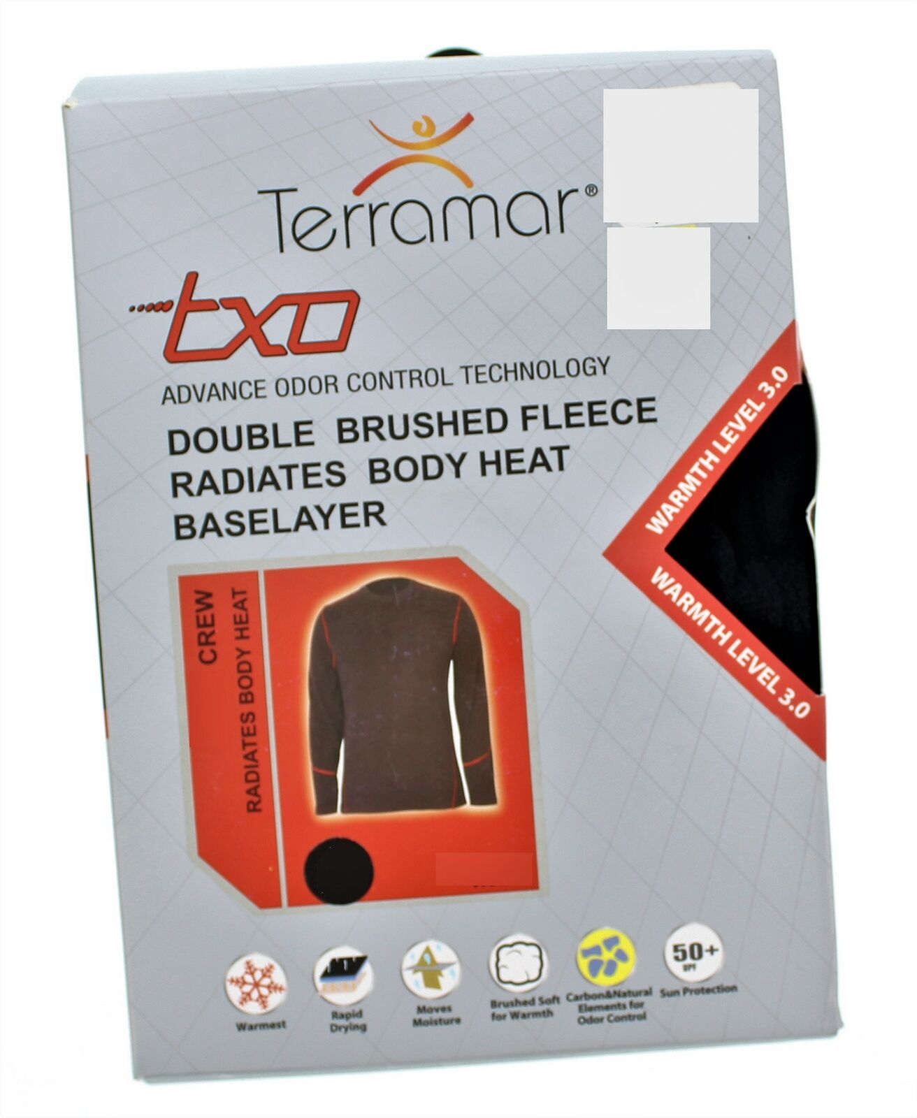 Terramar Mens Double Brushed Fleece Baselayer Crew Shirt Size S 34-36 NWOT