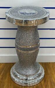 60cm Table Vase Diamond Silver Crystal Decorative Diamante Crushed Side Luxury