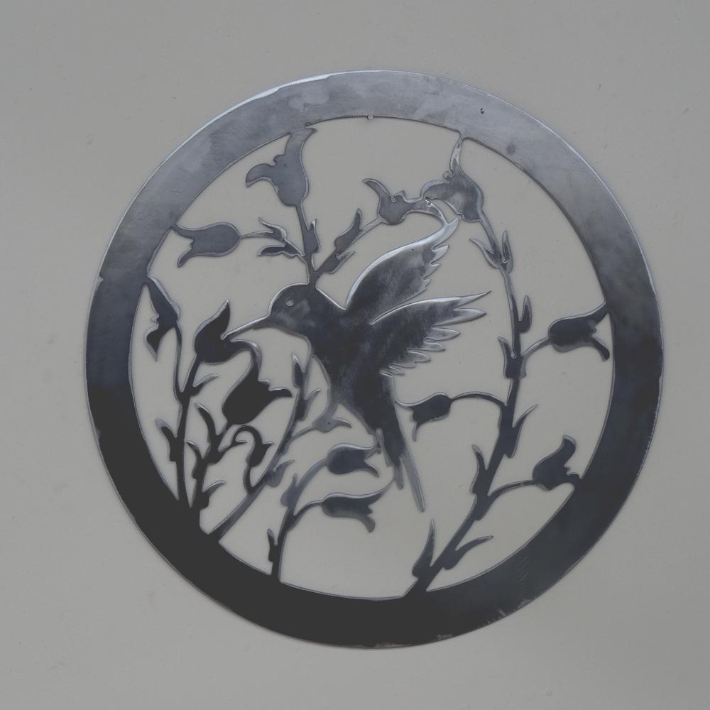 Colibri et fleurs, Floral, animal animal Floral, mur circulaire Art métal solide, en acier. 011ae6