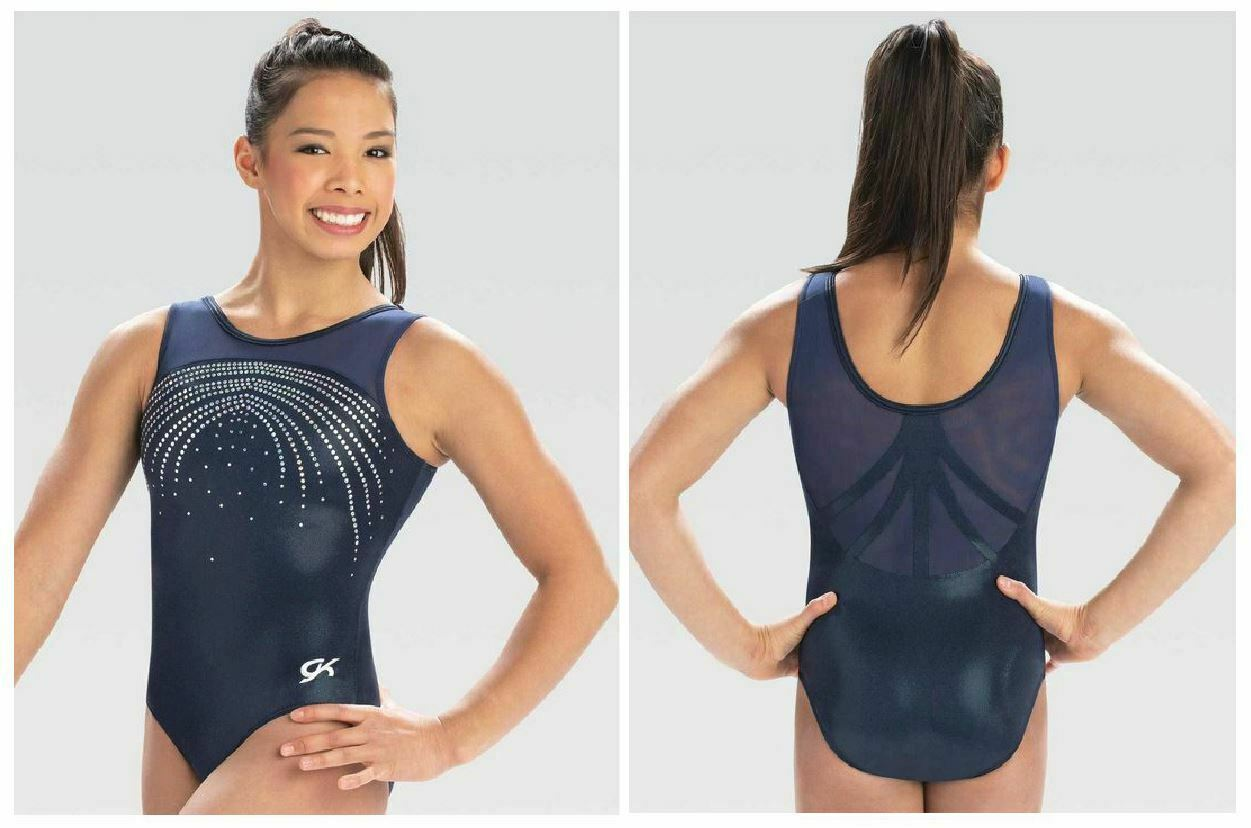 GK Elite Meteor Sky Gymnastics COMPETITIVE LEOTARD  ld &  Adult Sizes New Tags  100% authentic