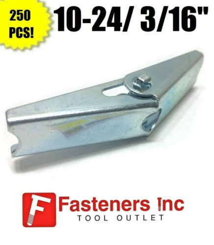 """250 10-24 3//16/"""" Toggle Wing Nut Zinc Plated Spring Loaded Hollow Wall Anchor"""