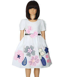 Nuevo-Algodon-Chica-Verano-Vestido-de-Fiesta-en-azul-Rosa-de-5-a-10-Anos